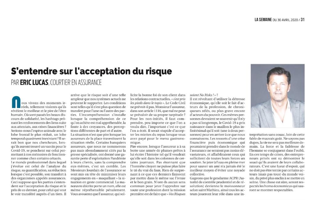Article du journal la Semaine - interview Eric Lucas
